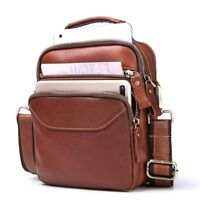 Brown Genuine Leather Men's Chest Crossbody Bag Messenger Shoulder Small Handbag