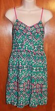 XHILARATION Jrs. Small SUNDRESS (green/pink w/ spaghetti straps & elastic back)