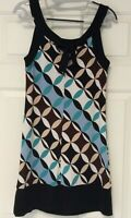 AUW Sleeveless Stretch Dress Women's Size Small Multi Color Print Non Wrinkle