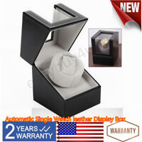 Luxury Single Automatic Watch Winder Box Display Leather Watch Organizer Case US