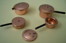8pc Metal Copper Doll House Cooking Set - 1:12th! New!