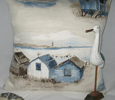 Beach Hut Cushion Cover Nautical Seaside Coastal Fabric Seaside Beachuts