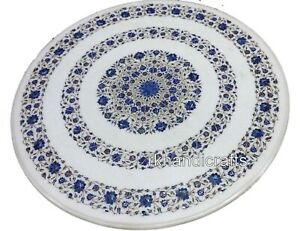 Lapis Lazuli Stone Inlaid Meeting Table Top Round Marble Dining Table 42 Inches