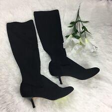 Donald J Pliner Womens Black Stretch Crepe Fabric Knee High Heel Boots Sz 7.5M