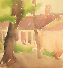 Vintage expressionist landscape house watercolor painting