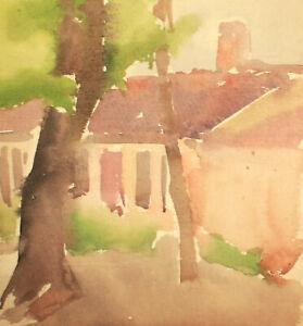Vintage expressionist landscape house watercolor painting