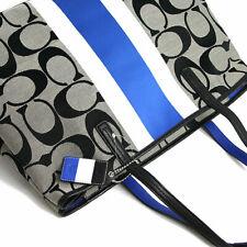 Coach Hamptons Signature Stripe Large Tote F10054 Black White Cobalt Handbag NWT