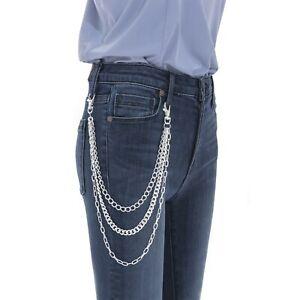 Three Row Silver Trouser Jean Wallet Side Chain Belt Hipster Bike Clip Unisex