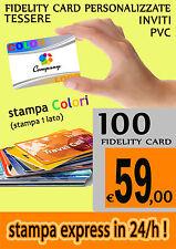 STAMPA 100 BIGLIETTI TESSERE PVC FIDELITY CARD PERSONALIZZATE logo  PUNTI