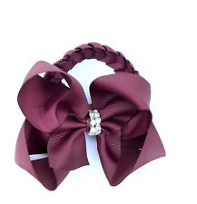 Burgundy Hair Clip Bow with Rhinestone Bun Wrap Donut School Hair Accessories