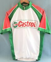 Castrol Full Zip Jersey Short Sleeve Bike Red/White/Green Polyester MEDIUM NWOT