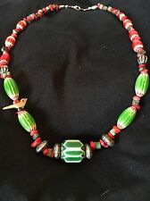 "Chevron Trade Beads Green Coral MOP BIRD Finished Necklace 20"" L Six Layer"
