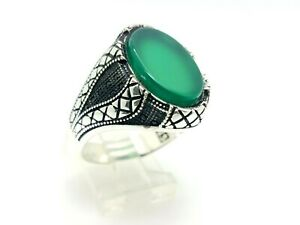 Handmade Turkish 925 Sterling Silver Oval Green Agate Men's Ring Size 11.25 USA