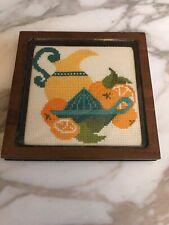 Vintage 1960's Needle Point Cross stitch Kitchen Trivet Wood Glass