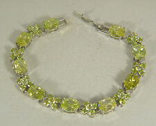 BRACELET:  PERFECT GREEN AMETHYST OVAL (10X8MM) ROUND (3MM) 925 STERLING SILVER