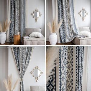 Blackout Boho Cotton Linen Curtain Living room Bedroom Window Drapes One Panel