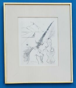 Original Salvador Dali (1904-1989) Print - Lady and the Unicorn Etching