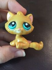 Littlest Pet Shop Cat Tabby #300 Orange with Stripes Teal Aqua Green Eyes