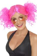 LADIES 80's NEON PINK BUNCHES WIG WOMENS 80s DISCO PUFFS FANCY DRESS HAIR STYLE
