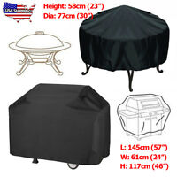 Waterproof BBQ Grill Cover Round Fire Pit Barbecue Protector Home Patio Garden