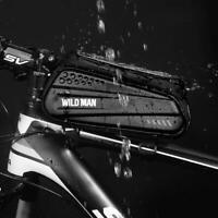 WILD MAN Waterproof MTB Bicycle Phone Bags Touch Screen Bike Top Tube Pouch Hard