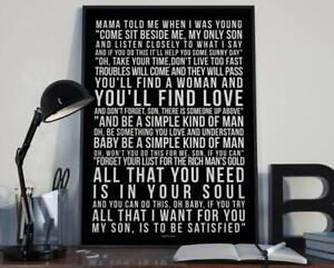 A3 Simple Man song Lyric Typography Art Print by Lynyrd Skynyrd (White on Black)