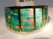 10.5 Mens Man Window Band Black Sea Green FIRE Opal Ring Sterling Silver 925