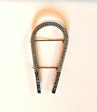 14K YELLOW GOLD HORSESHOE BROOCH SEED PEARLS & SAPPHIRE   **** PRICE DROP !!!