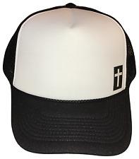 Christian Cross Side Logo Black White Foam Mesh Trucker Cap Caps Hat Hats WHITE