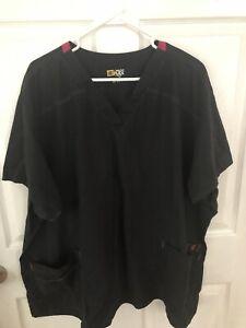Womens Size 5x Wonder Flex Black Scrub Top trimmed in pink