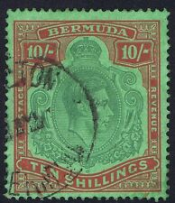 Bermuda 1938 SG119 10/- Green and Red Perf 14 7th Printing Fine Used