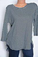 Ann Taylor Loft Womens Casual 3/4 Sleeve Blue Striped Floral Tee Knit Top Sz S