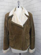 Ladies Vintage Style Short Brown Suede & Faux Sheepskin Flying Aviator Jacket L