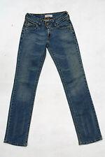 Levis 570 Slim Blue Straight Fit Stretch Denim Faded Jeans Red Tab W26 L34 Uk8