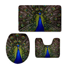 Peacock Toilet Seat Lid Cover 3pcs Contour Rug Cushion Bathroom Floor Mat
