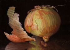 small original painting kitchen art realism still life onion 7x5 by Youqing Wang