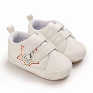Rubber PreWalk Trainer Newborn Baby Boy Crib Shoes Infant Leather Sneakers 0-18M