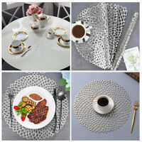 Set of 6 Silver Hollow PVC Placemats Coasters Dining Table Place Mats Washable
