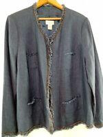 Soft Surroundings Women's 2XL Long Sleeve V-Neck Linen Blue Jacket Blazer 2524