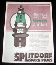 1918 OLD MAGAZINE PRINT AD, SPLITDORF SPARK PLUGS, PLUG WITH THE GREEN JACKET!