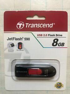Transcend JetFlash 590 8GB  Fast Data transfer USB Flash Drive Red .New