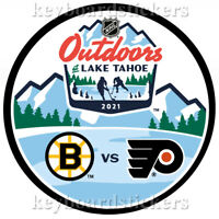2021 NHL Outdoors Dueling Hockey Puck Boston Bruins vs Philadelphia Flyers - NEW