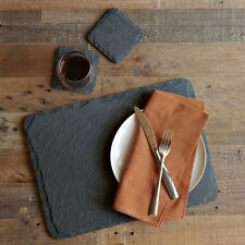 Set Of 8 Natural Slate Placemat & Coasters Set Coffee Drink Table Mat Cheese New