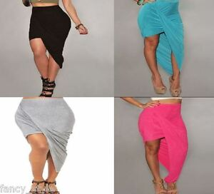 NEW Celeb Ruched Asymmetrical Draped Sexy Skirt Boutique One Size Grey Black