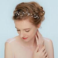 Wedding Crystal Pearl Hair Vine Headband Bridal Accessories Headpiece Party Gift