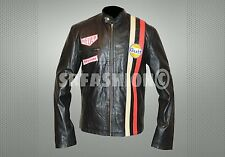 Steve McQueen le Man Classic Gulf Racers leather jacket.