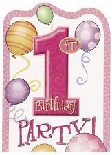 Einladungen 1. Geburtstag Mädchen mit Umschlag  rosa 8 Stück 13,5 x 10 cm