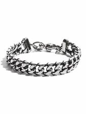New G By Guess Hematite Tone Chain With Black & White Thread Detail Bracelet