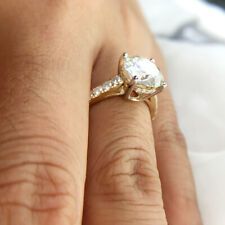 4.0ct 10.0mm Round Cut Full Moissanite Engagement Ring 14k White and Yellow Gold