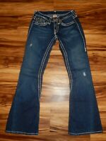 True Religion Size 26 Joey Super T Distressed Blue Jeans